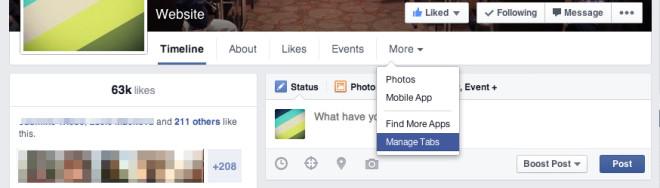 Menü von Facebook Seiten neu anordnen