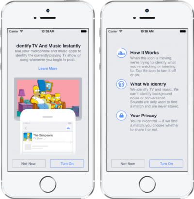 Die aktuelle Musik oder das TV-Programm erkennt Facebook jetzt automatisch