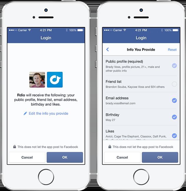Screenshot: Neuer Facebook Login am Smartphone mit besserer Kontrolle der eigenen Daten