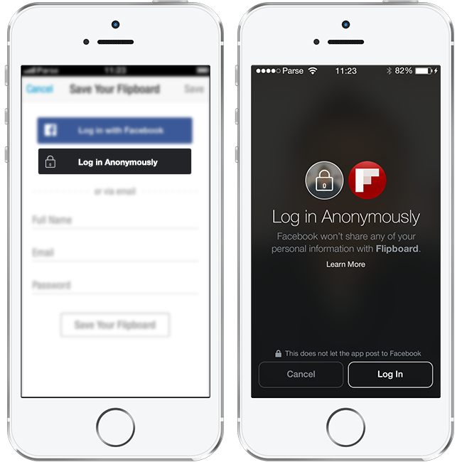 Anonymer Login über Facebook in der mobilen Version