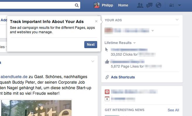 Kleines Updates des Anzeigen-Dashboards im Newsfeed für Werbekunden