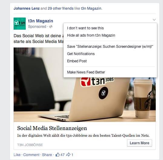 Facebook Anzeigen verbergen