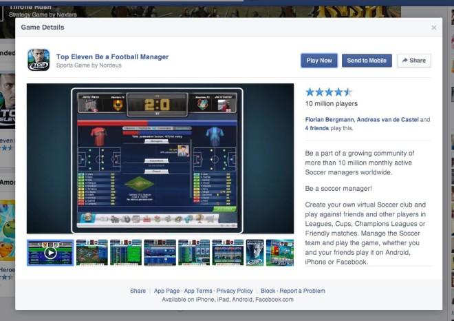 Details zu einzelnen Spielen auf Facebook