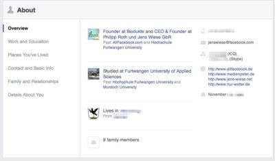 """Neuer """"About""""-Bereich für private Facebook-Profile"""