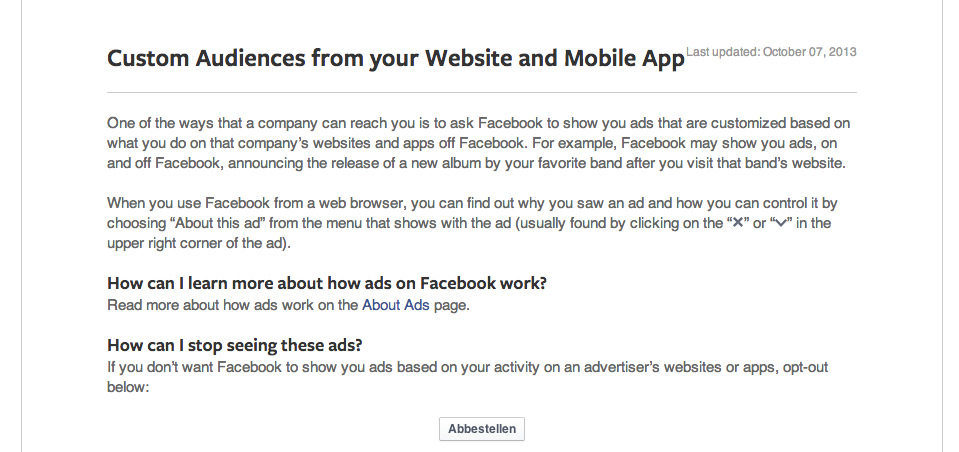 Wusstest Du Schon Website Custom Audience Opt Out Allfacebookde