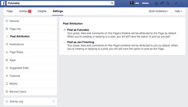 Facebook-Beitragsattribution-Seiteneinstellungen