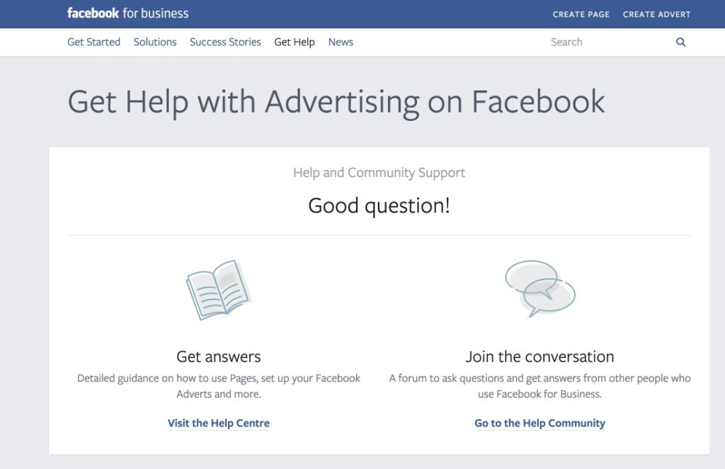 Hier ist er: Der (Business) Support von Facebook mit Kontaktformular