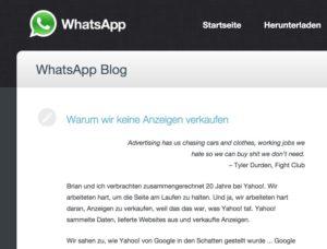 Warum wir keine Anzeigen verkaufen - WhatsApp Blog 2015-01-26 21-55-16