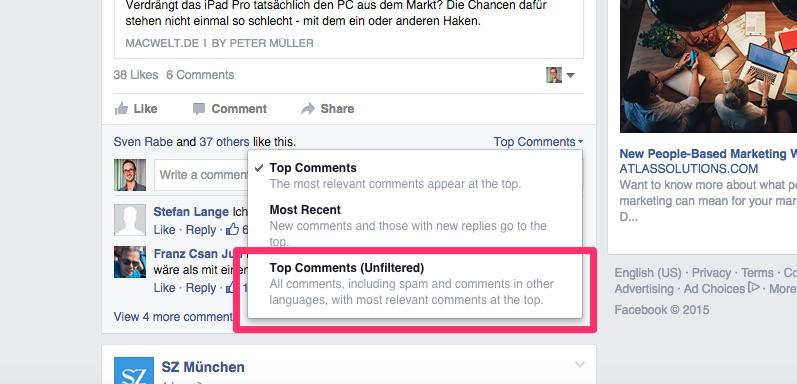 Facebook Pages: Kommentare jetzt mit weiterer Sortierfunktion