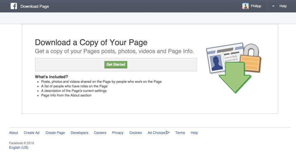 Die eigene Facebook-Seite als Backup komplett downloaden