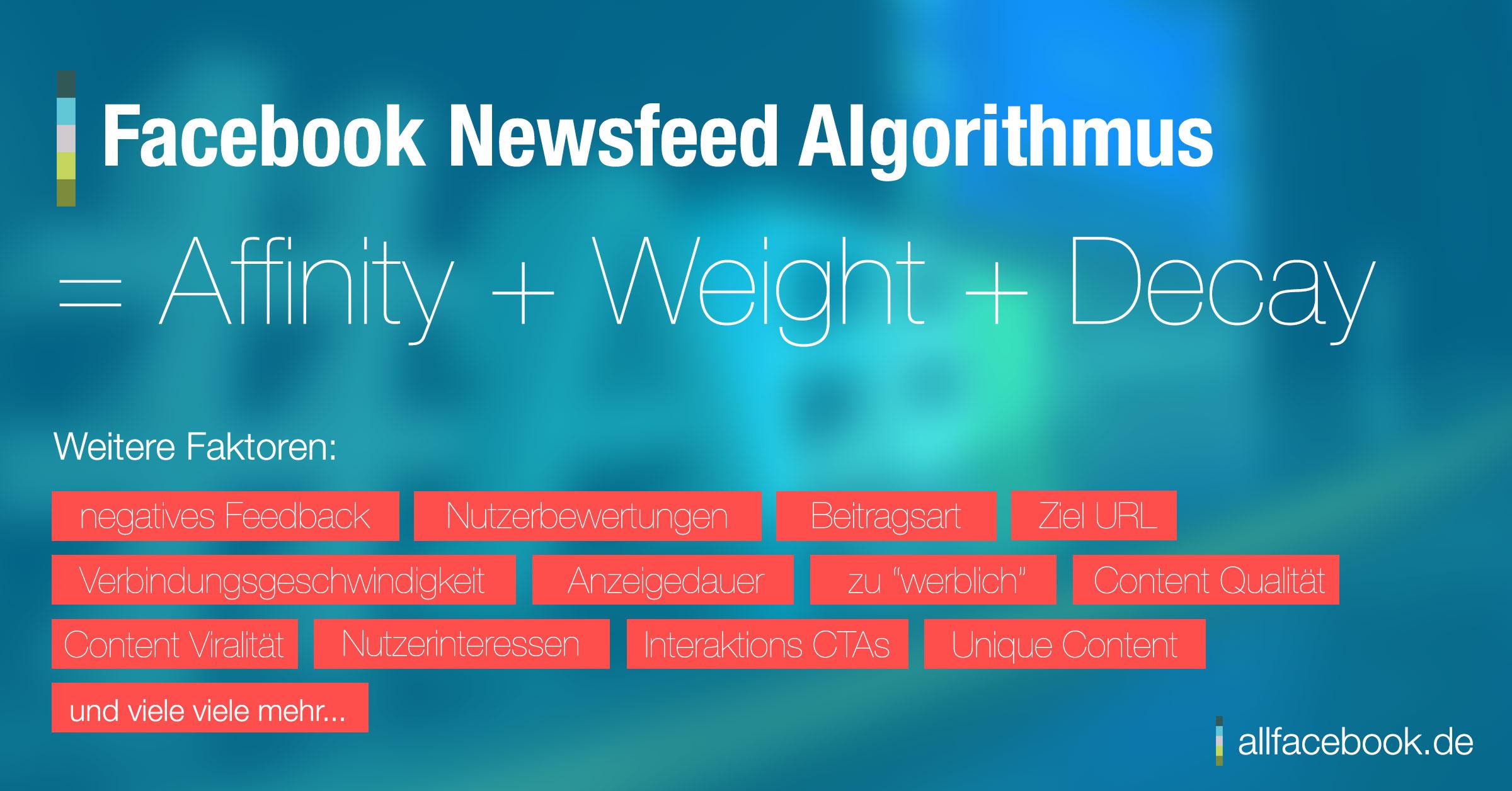 Die Einflussfaktoren des Newsfeeds Algorithmus, sie bestimmen die Reichweite von Seiten im Newsfeed.