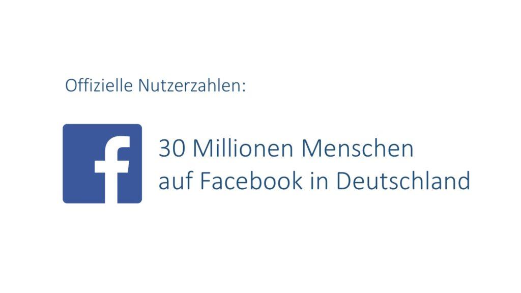 Offizielle Facebook Nutzerzahlen für Deutschland (Stand: Juni 2017)