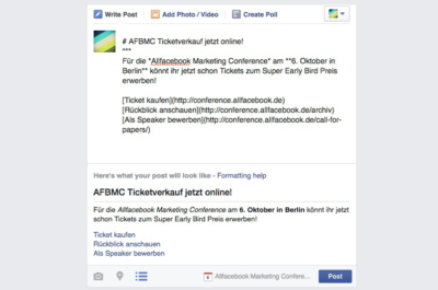 Facebook erlaubt Markdown Formatierung in Event Posts (Update)