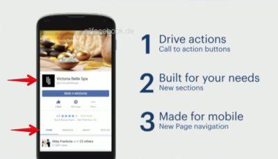 Redesign für mobile Facebook Pages im RollOut: neue CTAs, neues Menü und das Comeback der Tabs