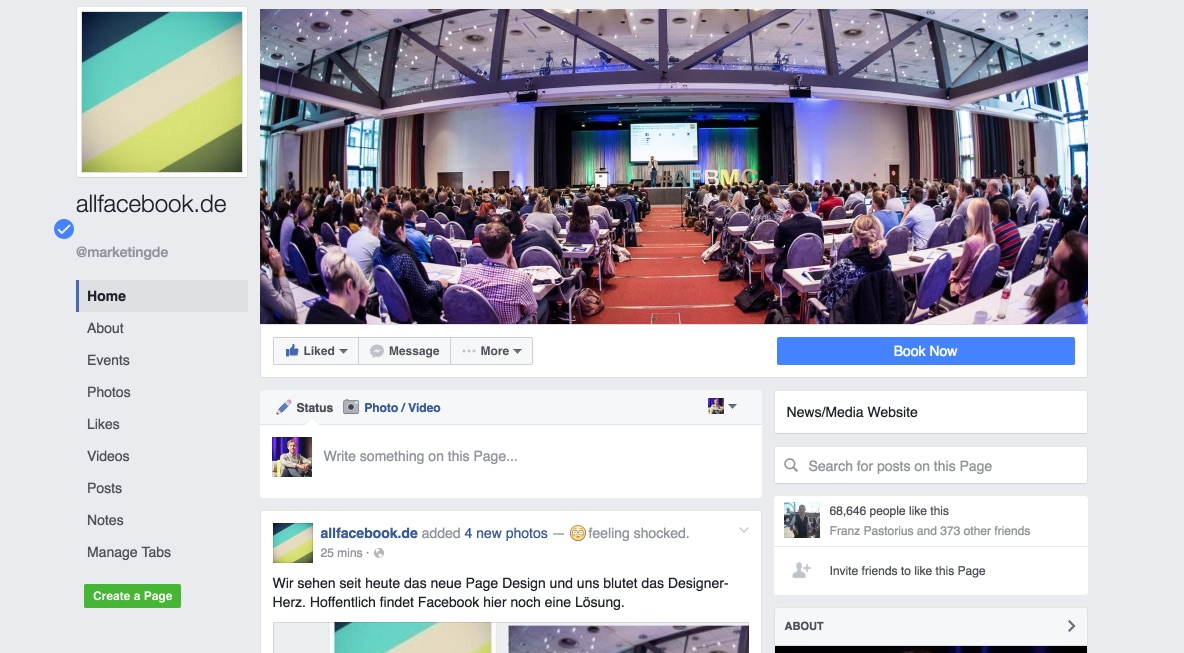 Facebook Seiten Redesign 2016
