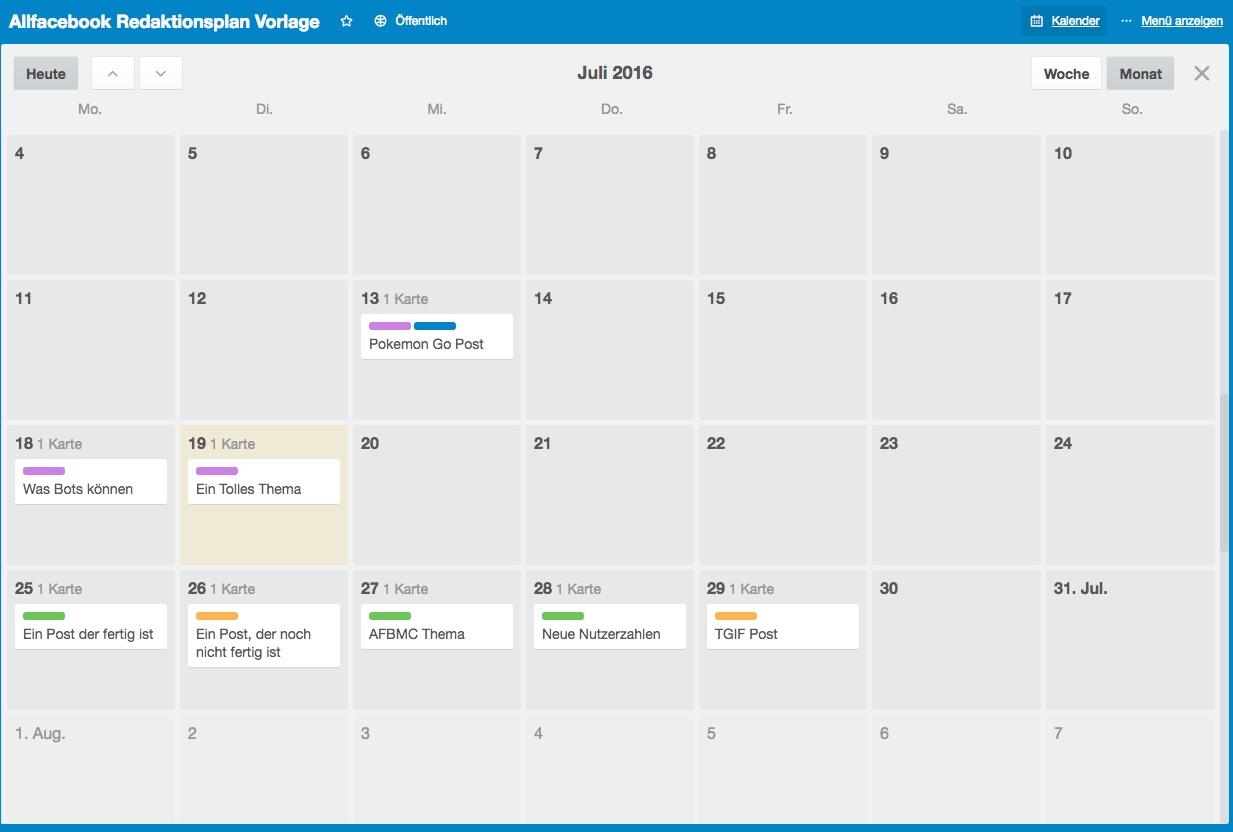 Facebook Redaktionsplan in der Kalenderansicht