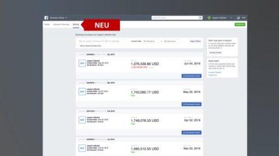 """Business Manager mit neuer Rechnungsübersicht und neuer """"Finance""""-Rolle"""