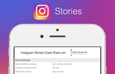 Instagram Stories Cheat Sheet als kostenloser PDF Download