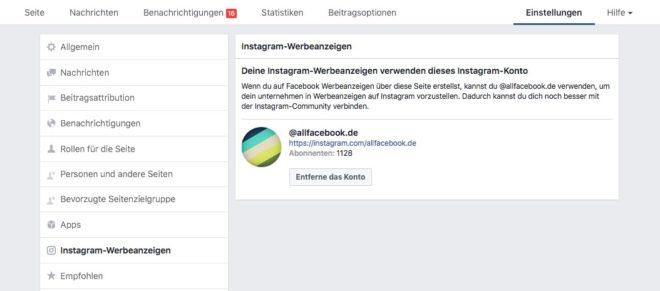 Instagram Konto verbinden