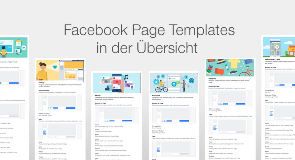 Neu: Die Templates für Facebook Seiten in der Übersicht