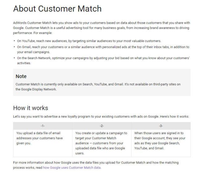 """Google bietet für AdWords ein""""Customer Match"""" anund hat z.B. durch die Verknüpfung von Services mit Werbung ähnliche Funktion bereits früherfür bestimmte Branchenzur Verfügung gestellt."""