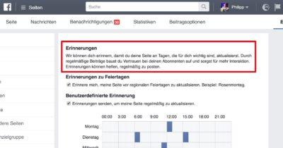 Neu: Facebook Seiten Erinnerungen einstellen für die bessere Planung von Inhalten