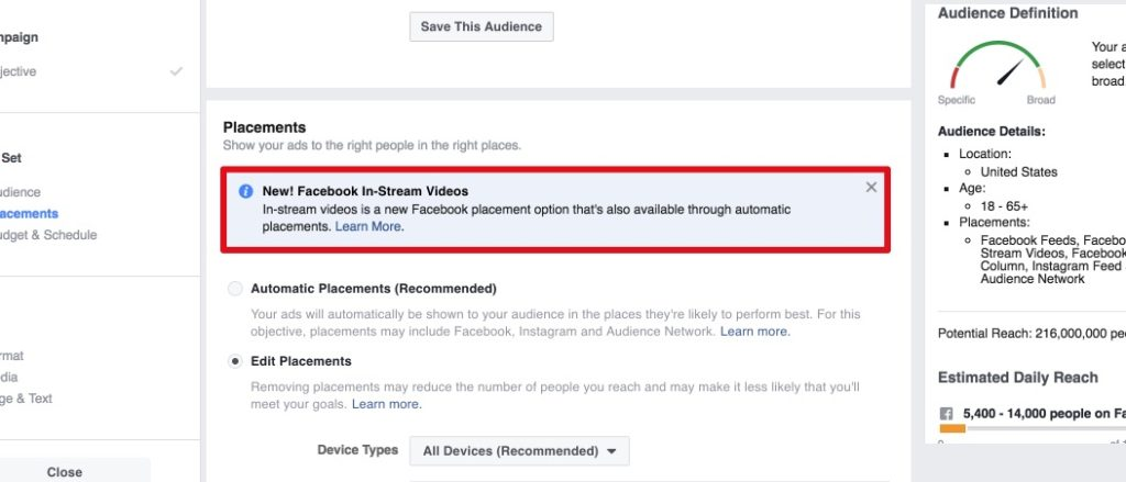 Placement: In-Stream-Video Ads auf Facebook schalten