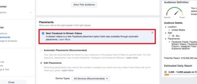 Placement: In-Stream-Video Ads auf Facebook schalten (Update)