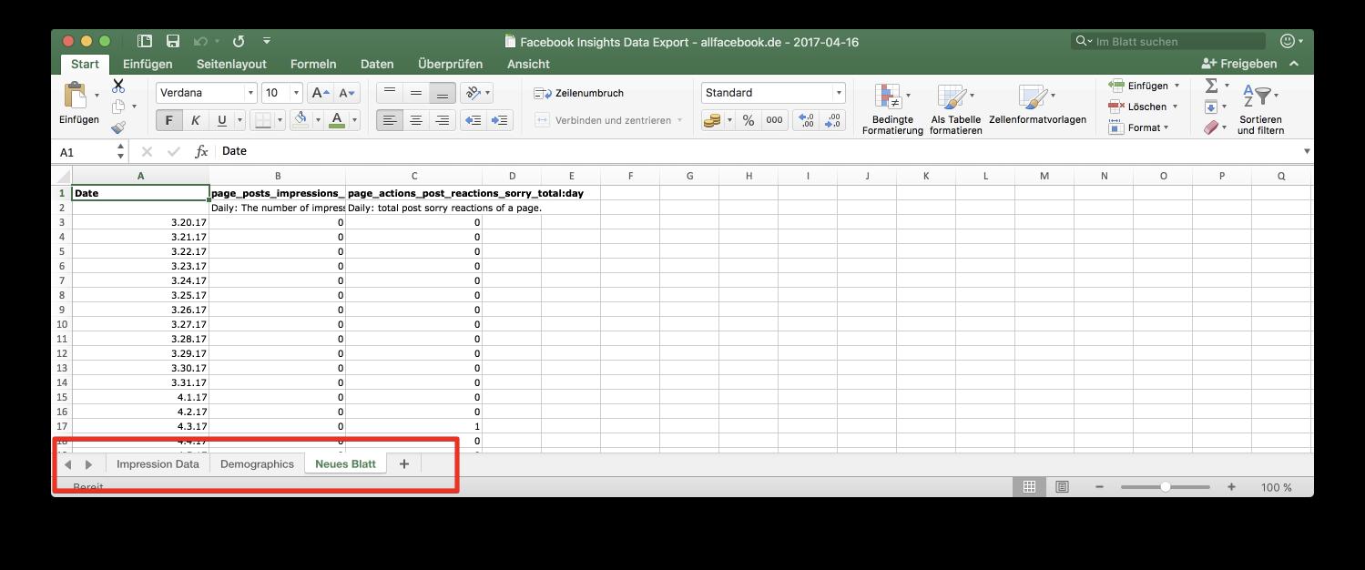 Tutorial: Facebook Insights mit eigenen Excel Vorlagen - Reporting ...