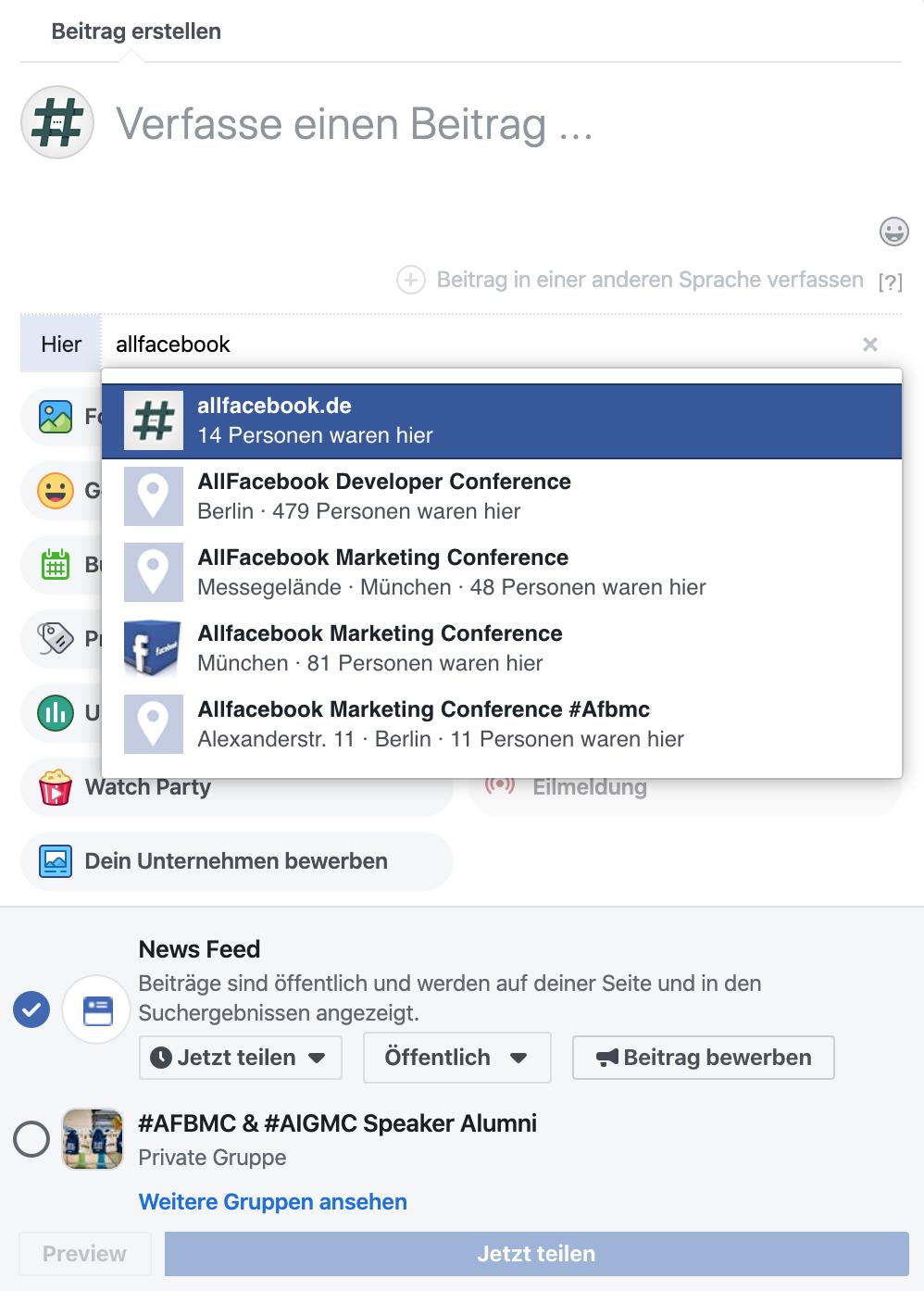 Facebook Ort hinzufügen