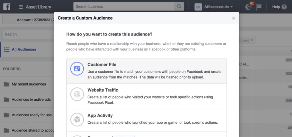 Tutorial: Facebook Custom Audience aus eigenen Daten erstellen