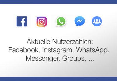 Nutzerzahlen: Facebook, Instagram, Messenger und WhatsApp, Highlights, Umsätze, uvm. (Stand November 2017)
