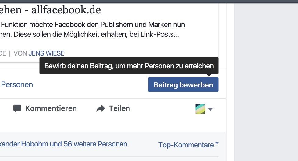 Facebook reduziert Werbeformate auf Facebook Seiten