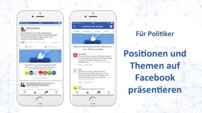 """Zur Bundestagswahl: Facebook stellt Politikern und Parteien neuen """"Themen"""" Tab zur Verfügung"""