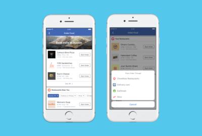 Restaurant Seiten: Essen direkt auf Facebook bestellen