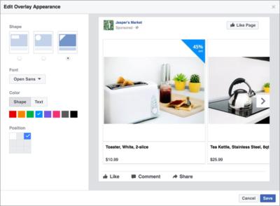 Facebook Carousel Ads mit Overlays für Angebote, Preisnachlässe oder Bestseller