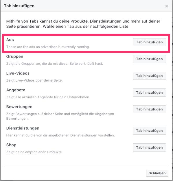 Facebook Seiten Einstellungen Bereich Anzeigen