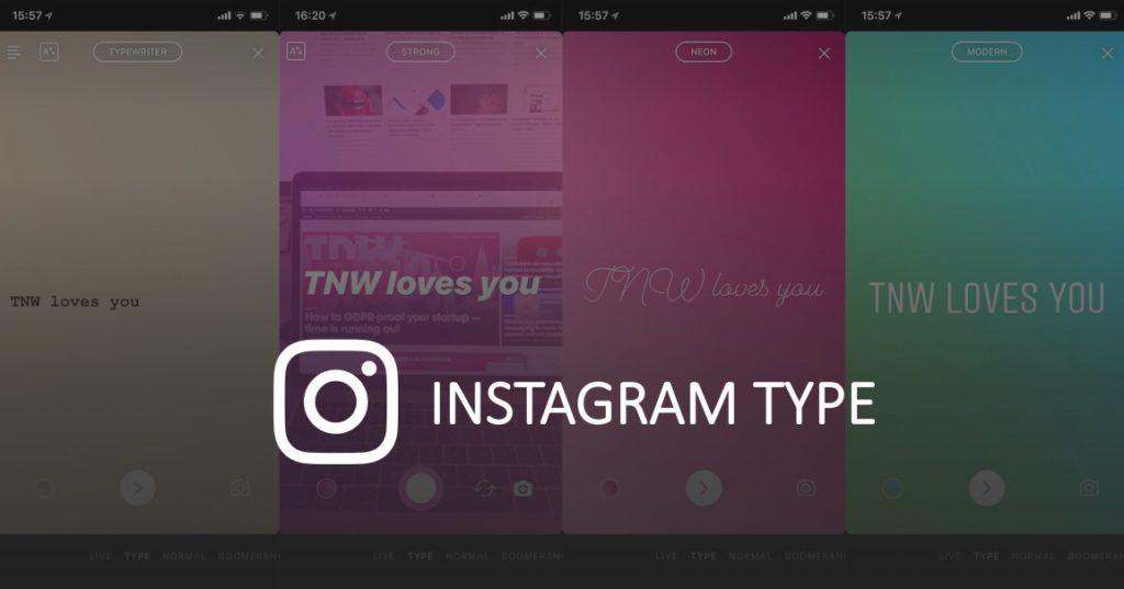 Instagram Type – mehr Schriftarten und Text-Effekte für Instagram Stories