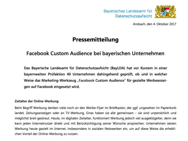 Die bayerische Datenschutzaufsicht ist für deren Pragmatik bekannt, überraschte dennoch mit der Pressemitteilung, in der sie die Nutzung des Facebook-Pixels (im Hinblick auf Custom Audiences) für erlaubt hielt