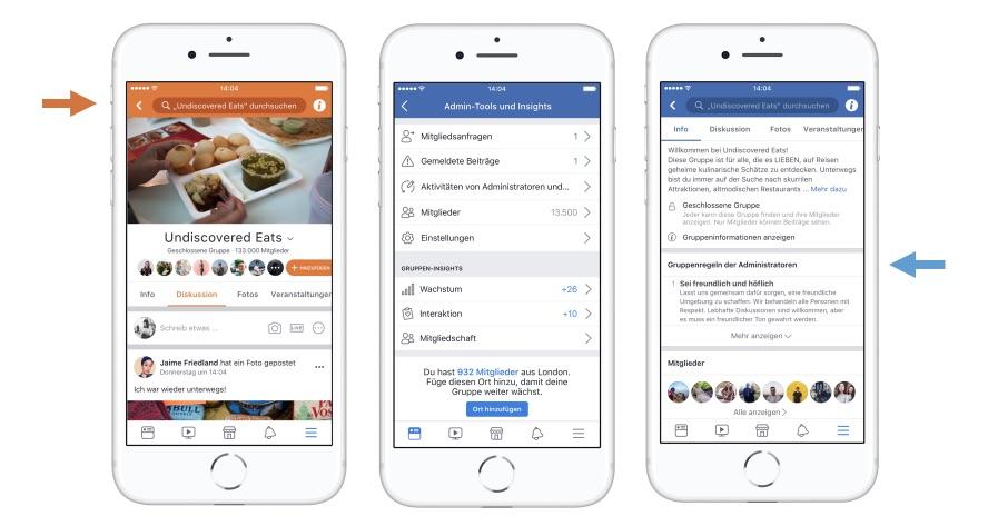 Vier neue Features für Facebook Gruppen: Ankündigungen, Regeln, eigenes Farbdesign. …