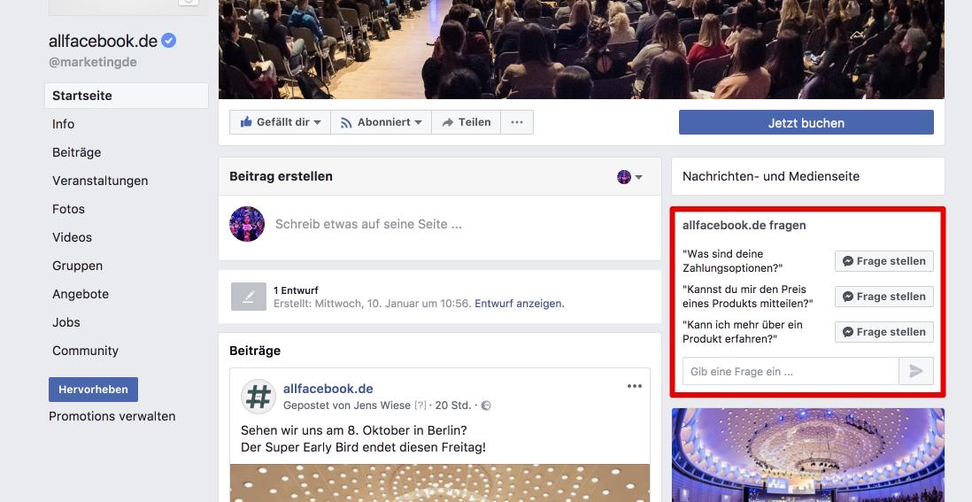 Neuer Test Häufig Gestellte Fragen Für Facebook Seiten Allfacebookde