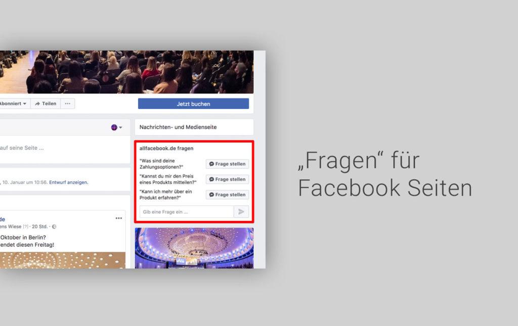 Neuer Test: Häufig gestellte Fragen für Facebook Seiten