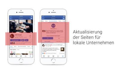 Neues Seitendesign, prominentere Bewertungen, mehr Informationen – großes Update für lokale Unternehmen auf FB