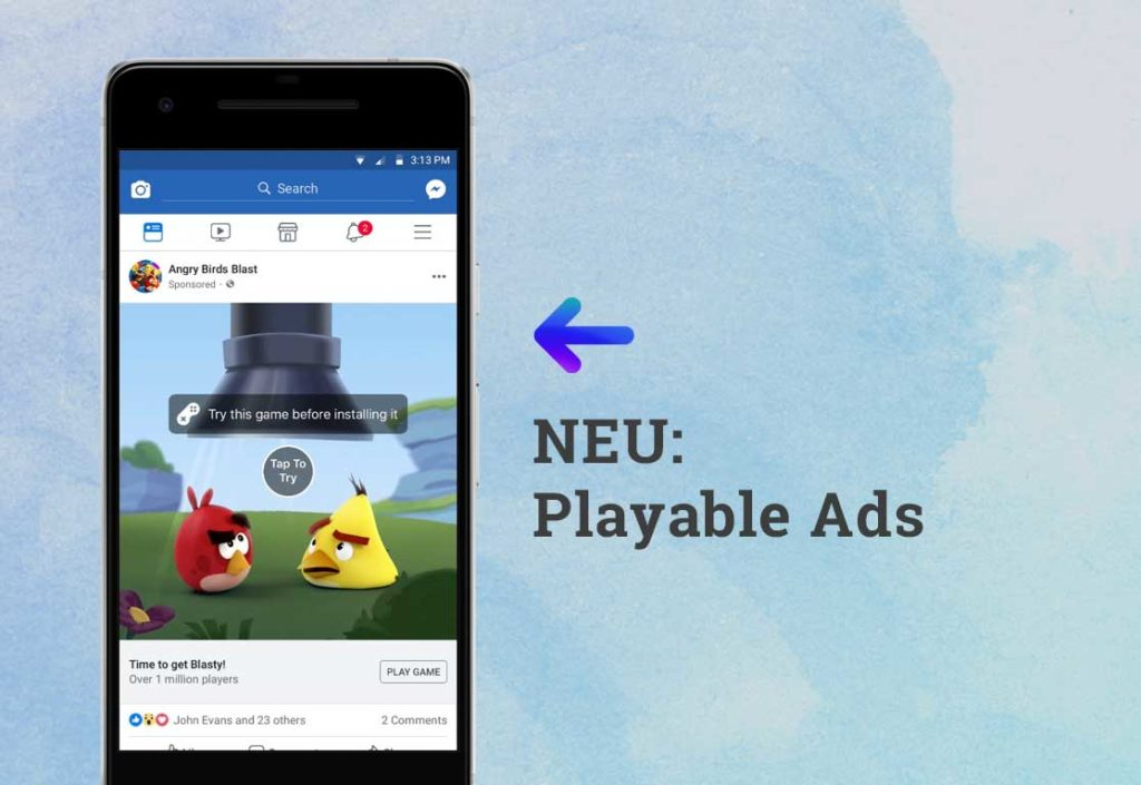 Interaktives Werbeformat: Playable Facebook Ads