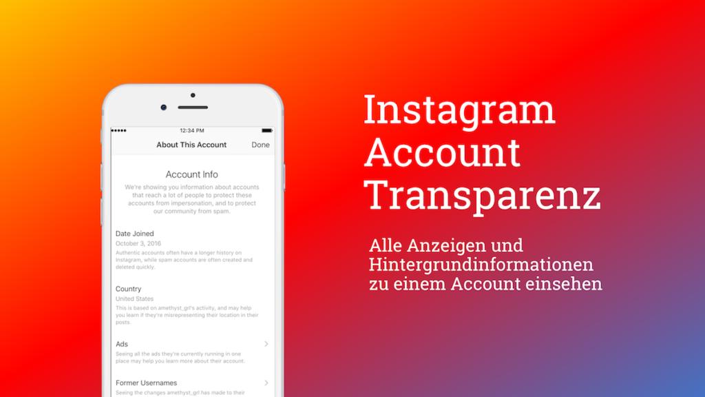 Instagram Transparenz mit neuer Funktion
