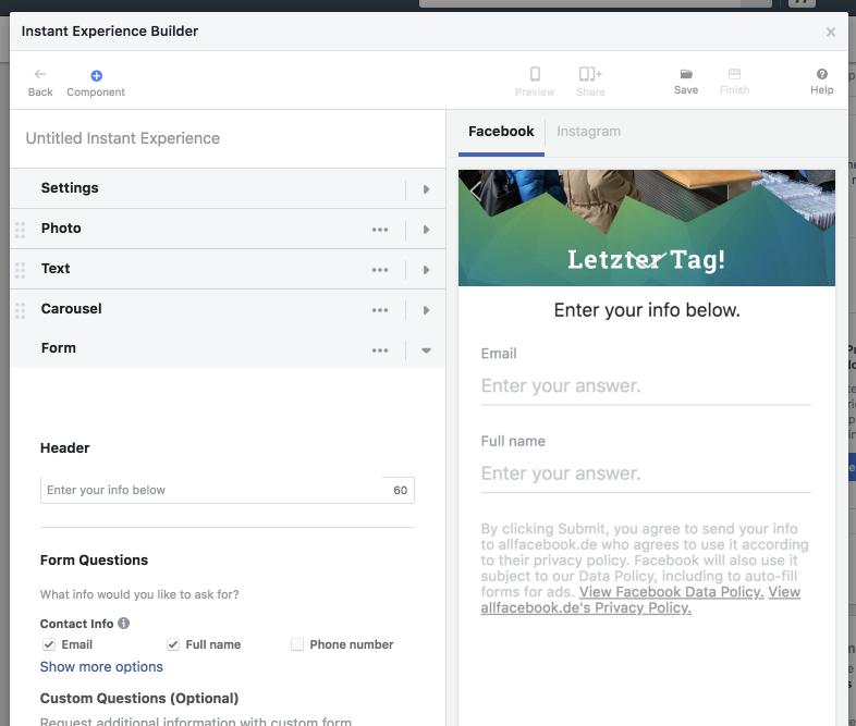 Facebook Kontaktformular Link