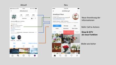 Im Überblick: Redesign für Instagram Unternehmensprofile mit Tabs, neuen Call-To-Actions, uvm.