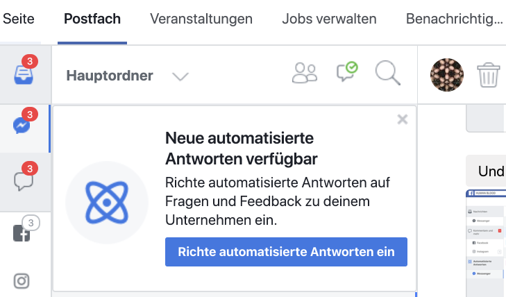 Neue Optionen und Dashboard für automatische Antworten von Facebook Seiten