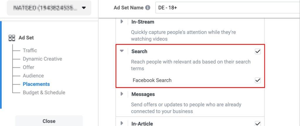 Anleitung: Werbung in der Facebook Suche schalten