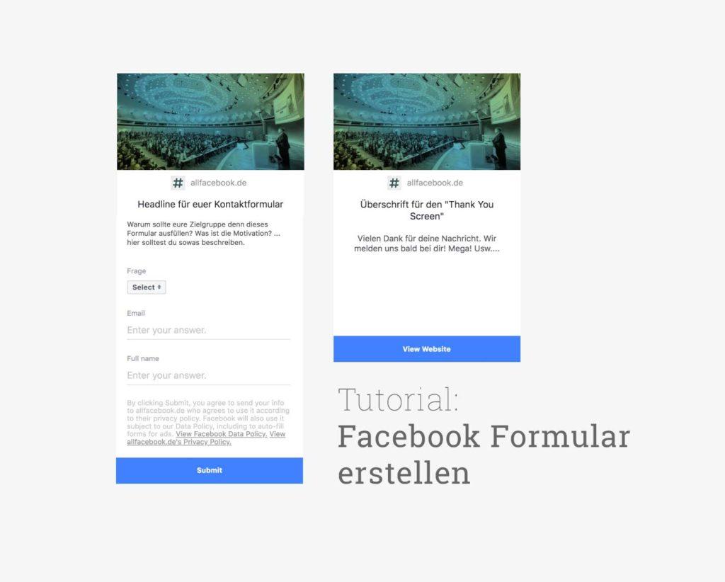Tutorial: Kontaktformular in Posts und Anzeigen auf Facebook